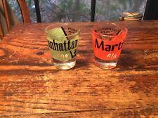 2 Vintage Shot Glasses Manhattan And Martini