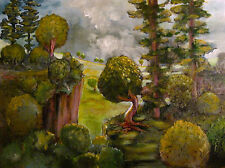'Overlook' Limited Signed Print painting trees nature landscape cliff hill sunny
