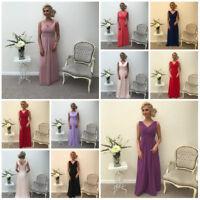New Chiffon V Neck Maxi A-line Bridesmaid Dress Formal Wedding Party Ballgown UK