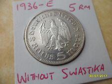 5 reichsmarks 1936-E Hindenburg alto grado 3rd Reich Deutsches Reich Moneda De Plata