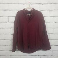 Lands' End Mens Size Large Burgandy Button Down Shirt Long Sleeve Flannel Cotton