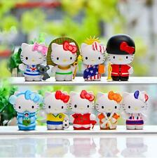 9pcs New Lovely Hellokitty Travel Around The World KT Cat Modelling Figure Toy