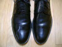Men's Dress Shoes PAUL FREDRICK Cap Toe Oxford Sz 10 D Black Leather