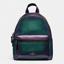 New Coach F24353 Mini Charlie Backpack In Pebble Leather Hologram Multi