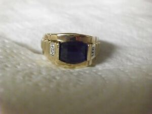 Mens Solid 10K Gold Blue Sapphire Ring Natural Diamonds , Size 10.5 . Heavy Ring