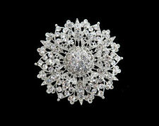 Vintage Inspired Rhinestone Crystal Flower Sunflower Brooch Wedding Party