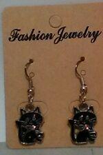 Handmade Silver Plated Black Cat Dangle Earrings - US Seller - Free Shipping