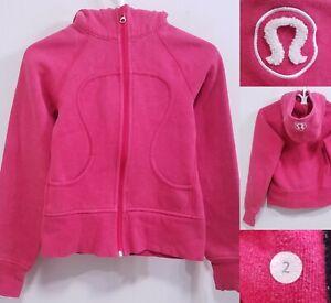 Lululemon SCUBA Pink Red Zipper Jacket Size 2 XXS Sweater Yoga Hoodie White Logo