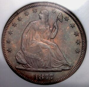 1877 SEATED LIBERTY HALF DOLLAR NGC MS63 WELL STRUCK CLEAN AND ORIGINAL