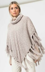 Luxury Roll Neck Poncho - Natural