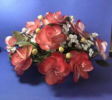 "Beautiful Vintage Shell Flower Arrangement orange white delicate flowers 16"""