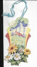 4 1/2 inch art deco graphics bridge tally card, country cottage with daisies