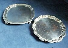 """ANTIQUE Pair 6"""" ~ SILVER Plated ~ GEORGIAN Style ~ Salver TRAYS ~ c1850"""
