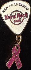 Hard Rock Cafe SAN FRANCISCO 2008 BREAST CANCER WALK GUITAR PICK & RIBBON PIN