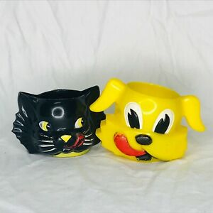 Vintage Ken-L-Ration Black Cat Yellow Dog Plastic Cups for Creamer and Sugar