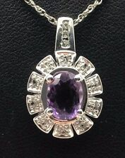 "Sterling Silver 925 Oval Purple Amethyst CZ Flower Cluster Necklace 18"""