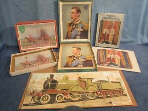 JOBLOT VINTAGE WOODEN JIGSAW PUZZLES - Victory,Tuck's, Royal Jubilee,Loco,spares