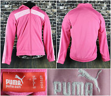 Puma Hot Pink Athletic L/S Zipper Jacket Size XL Light Color Stripe Front Pocket