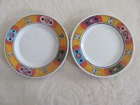 Deruta Pottery Italy Villagio-Multi-Color Geometric- Set of 2 Salad Plates