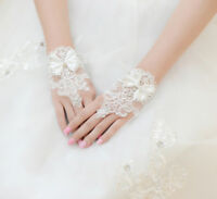 Ivory Fingerless Rhinestone Beaded Wedding Bridal Gloves Short Lace Accessaries