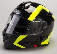 Viper Rs-v171 Spline Bluetooth Flip up Motorcycle Helmet Black Yellow Pinlock L