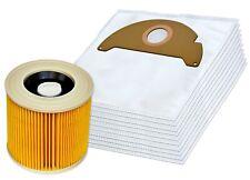 10 Staubsaugerbeutel + Filter geeignet für Kärcher A 2004, A 2024, A 2054, MV 2