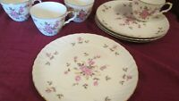 4 Vintage  Hand Painted Lefton China Porcelain Cup & Snack Plate Pink Roses