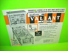 Williams VALIANT 1962 Original Pinball Machine Flipper Game Promo Flyer RARE