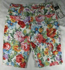 A BEYER Women's Jrs 11 Floral Multi Color Shorts Cotton High Waist VTG USA NWT