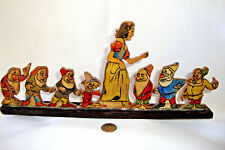 Vintage Hand Carved Wood Snow White and the Seven Dwarfs Put-Together, Homemade