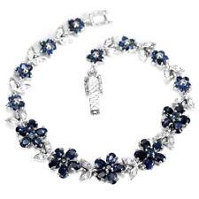 GENUINE BLUE SAPPHIRE & WHITE CZ STERLING 925 SILVER FLOWER BRACELET 7.25 INCH.