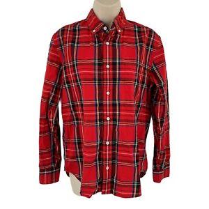 Crew Cuts Boys Shirt 14 Red Plaid Button Down Long Sleeve Classic Cotton