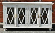 Rustic Shabby Chic White French Provincial Sideboard Diamond Glass Door Cabinet