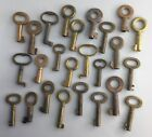 Bulk Lot 25 Old Metal Barrel Keys Small Antique Some Brass