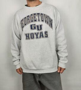 Vintage 90s Sweatshirt Georgetown University Hoyas Grey Crew neck Americana