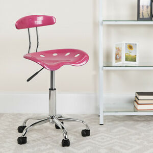 Vibrant Pink and Chrome Swivel Task Office Chair with Tractor Seat