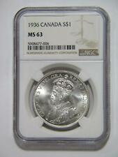 CANADA 1936 SILVER DOLLAR $1 NGC GRADED MS63 KING GEORGE V WORLD COIN 🌈⭐🌈