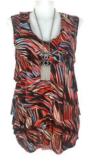 NWT AUTOGRAPH Top - Ruffle Layer Striped Stretch Tank Brown Orange Red Blue - 22