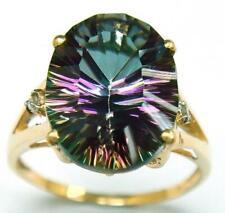 BESTJEWELLERY 10KT YELLOW GOLD OVAL NATURAL MYSTIC TOPAZ & DIAMOND RING 7 R1061