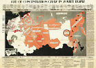 1945 Map of Concentration Camps in Soviet Russia Military 11'x15.5' World War 2