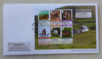 2016 ALDERNEY LONGIS NATURE SET OF 6 STAMPS MINI SHEET FDC FIRST DAY COVER