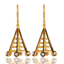 Dangle Earrings Wedding Fashion Jewelry 18k Yellow Gold Plated Designer