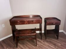 Unique Heywood Wakefield 3 Peice set desk with stool and side table