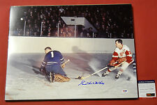GORDIE HOWE AUTOGRAPHED 16X20 PHOTO DETROIT RED WINGS PSA/DNA MR HOCKEY LEAFS
