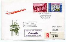 FFC 1963 Caravelle Swissair First Flight Geneve Alger REGISTERED Poste Aerienne