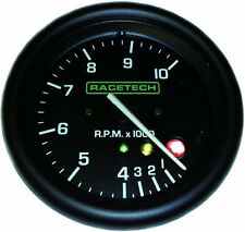 Racetech 80mm Tacho / rev counter gauge 0 - 10000 RPM with 3 stage shift lights