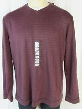 """Method Shirt Mens L, V Neck Long Sleeve Layered Look Wine Casual 48"""" Chest Nwt"""