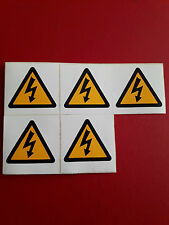 5 x small  ELECTRIC SHOCK - Danger Safety Warning Sticker 50 mm x 50 mm