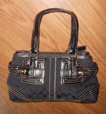 Womens COACH Large Black Signature Jacquard Leather Hobo Satchel Tote Purse Bag