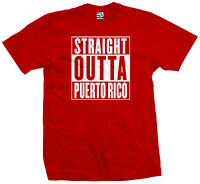 Straight Outta Puerto Rico T-Shirt - Rican Pride PR Flag Parody - All Colors